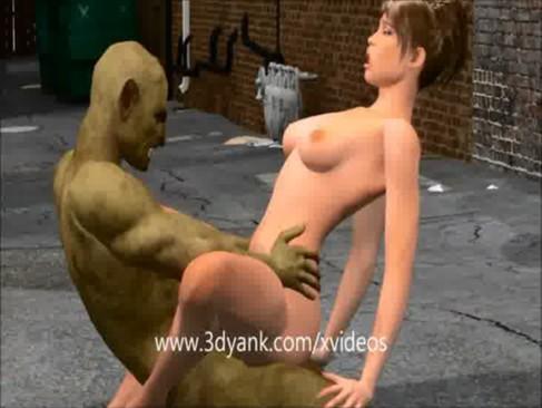 Alley Stalker monstro pega uma gostosa pelada no beco