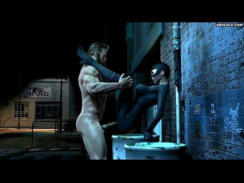 Wolverine e mulher gato fodendo no beco escuro